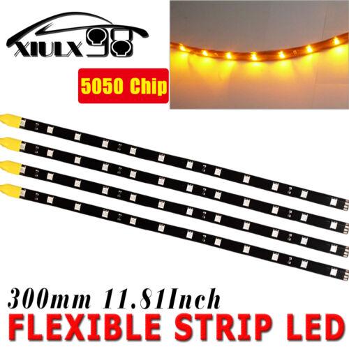 "12/""//30CM 4pcs Yellow Car Motor Truck Flexible LED Strip Light Bar Waterproof 12V"
