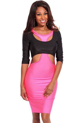 "WOMEN Size /""L/"" Ladies Rosy Black Two Tone Cut out 3//4 Sleeves Bodycon Dress"