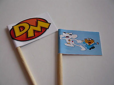 24 Personalised Dangermouse Toppers Party Flags Decorations Cake Picks Birthday