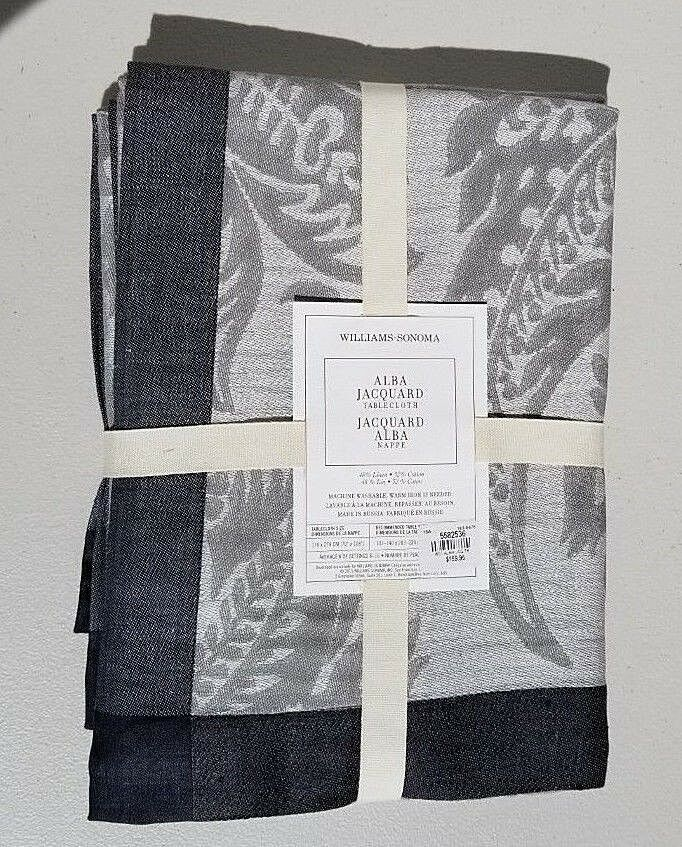 Williams Sonoma Alba Jacquard Tablecloth 70 x 108 Charcoal NWT