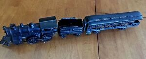 ANTIQUE-CAST-IRON-PENNYLVANIA-LIMITED-TRAIN-SET-407-WOODBINE-50-ON-COAL-CAR-EC