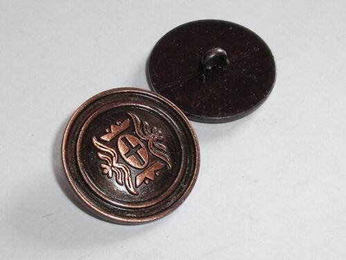 6 Stück Metallknöpfe Knopf Wappenknöpfe Ösenknöpfe  23 mm altkupfer NEU #912.2#