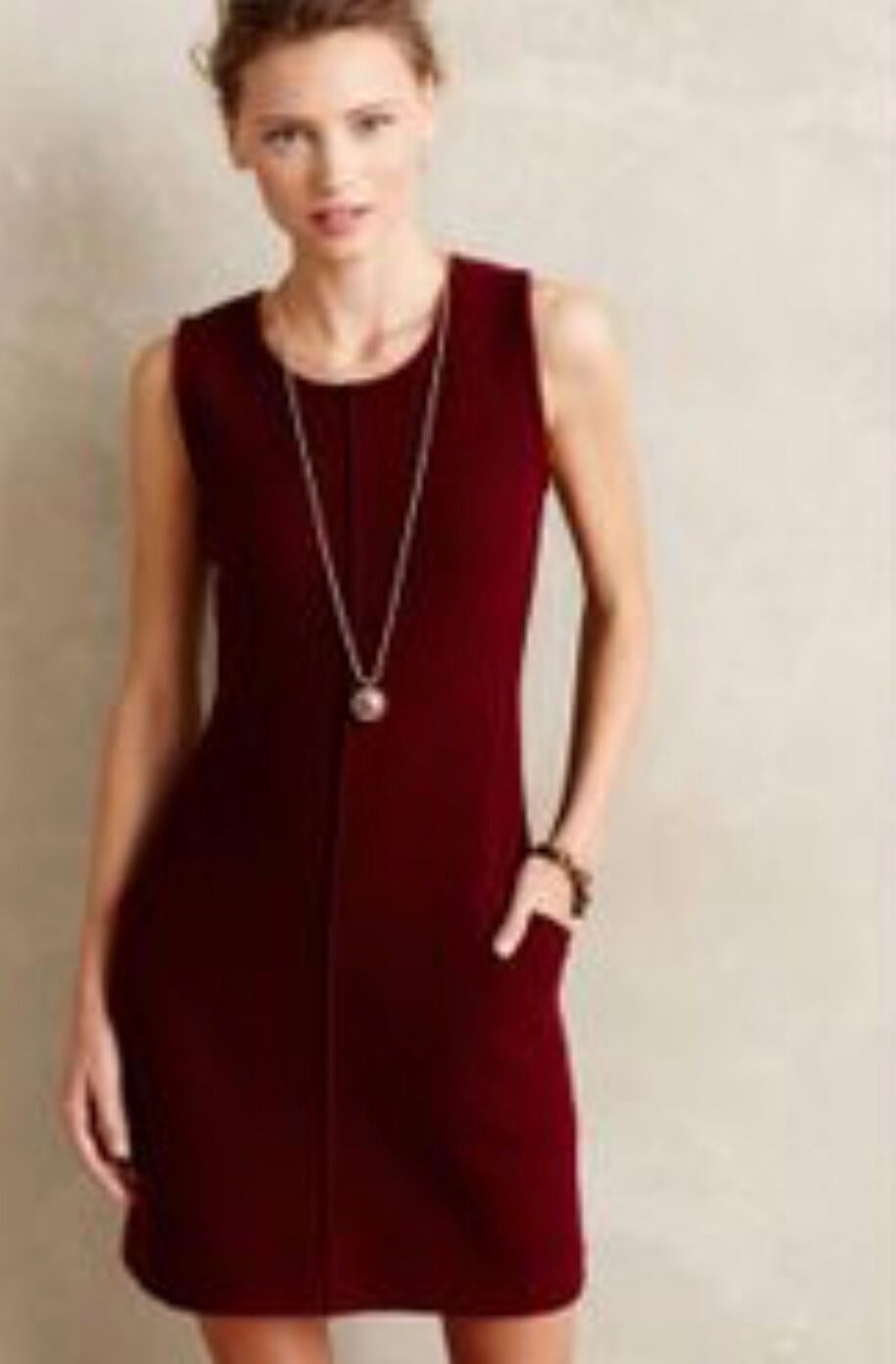 SPARROW Anthropologie Bressay Shift Dress NWOT Size XS Wine Burgendy