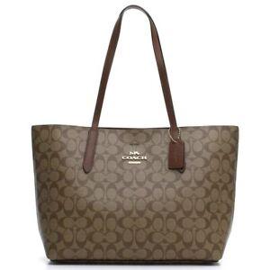 Coach-F67108-IME74-Avenue-Signature-Tote-Khaki-Saddle-Coated-Canvas-Handbag-NEW