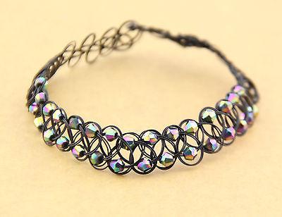 Rainbow Beads Tattoo Choker Elastic Necklace Pendant Grunge 90s Festival