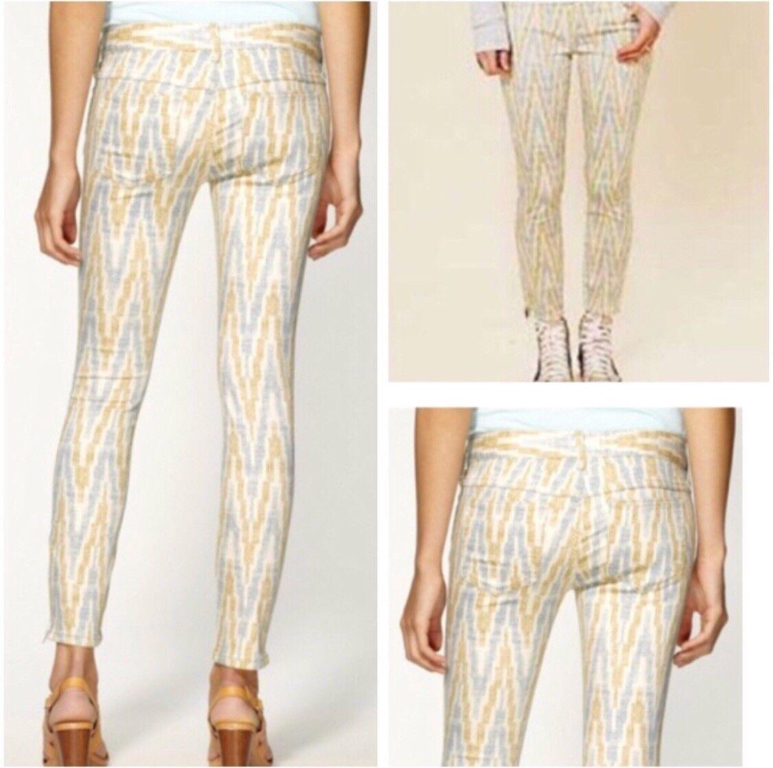 Free People Ikat Ankle Zip Skinny Jeans Boho Size 25 Woman
