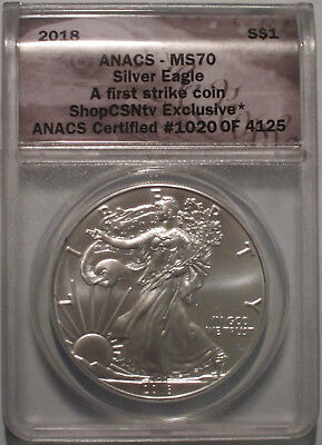 2018 ANACS MS70 FIRST STRIKE FS MINT STATE SILVER EAGLE DOLLAR A