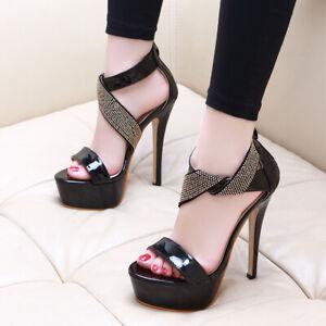 Sandalen-Leder-Kunststoff-Schwarz-Hoch-Poliert-Komfortabel-Plateau-Stilett-14-CM