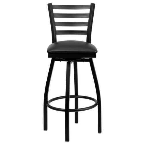 Black Ladder Back Swivel Metal Bar Stool With Black Vinyl