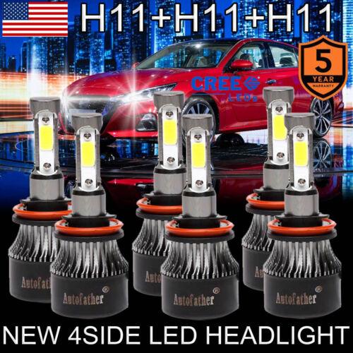 6x Philips H11+H11+H11 LED Headlights High Low Beam+Fog Light Bulbs kit 6000K