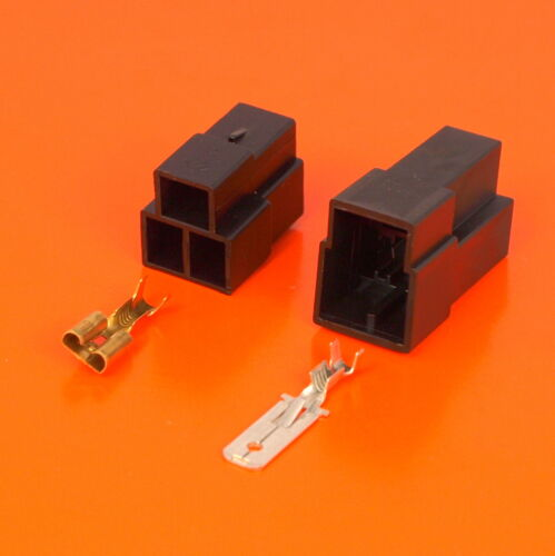 3 Way Black Pin Motorcycle Electrical Wiring Multi-Connector 6.3mm Terminals
