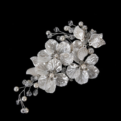 LuxuDDE Braut Kristall Perle Blume Haarspange Haarschmuck Hochzeit Haarschmuck