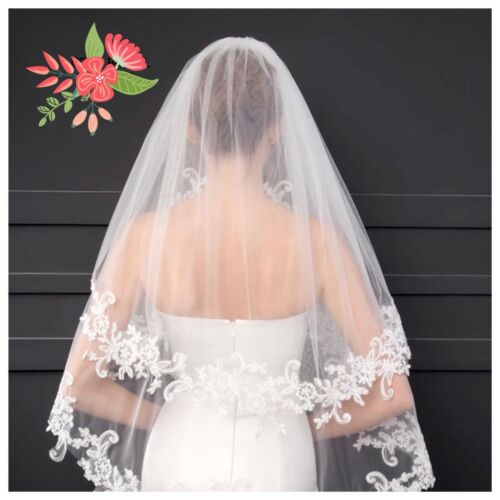 Bridal Wedding Ivory Veil 2 Tier With Metal Comb Lace Edge Soft Swiss Tulle