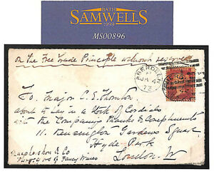 MS896 1873 GB *FREE TRADE MOVEMENT* Endorsed Cover Front Only Aberdeen London