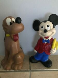 Vintage-Mickey-Mouse-Pluto-Plaster-9-Statue-Figures-Hand-painted-B16