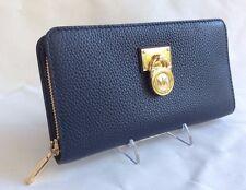 New Michael Kors Hamilton Traveler NAVY Gold LG Zip Around Wallet MK Pad Lock