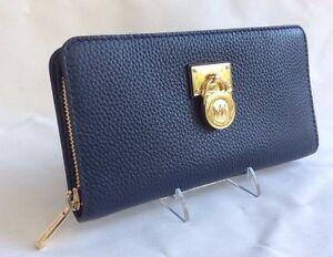 new michael kors hamilton traveler navy gold lg zip around wallet mk rh ebay com