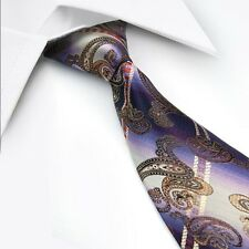 GIFTS FOR MEN Classic Mens Floral Paisley Silk Necktie Tie Purple Red Gold Black