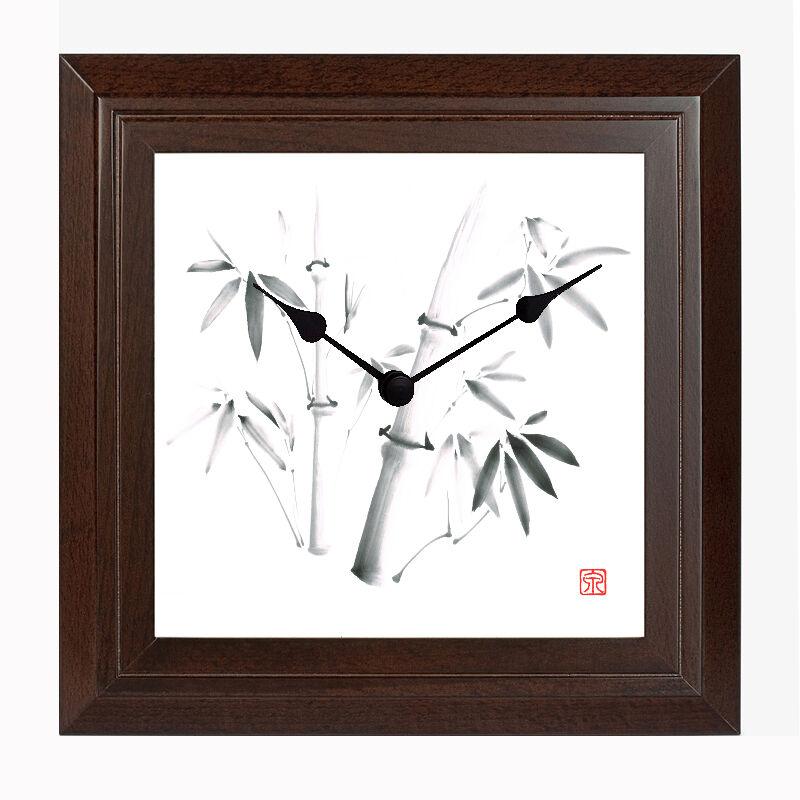 Japan Wanduhr TAKE Massivholz japanische Tuschenmalerei Sumi-e Einrichtung Deko