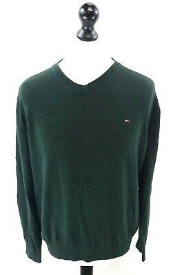 Energico Tommy Hilfiger Da Uomo Maglione Pullover L Large Verde Cotone-