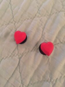 2 Red Love Heart Shoe Charms For Crocs and Jibbitz Wristbands.