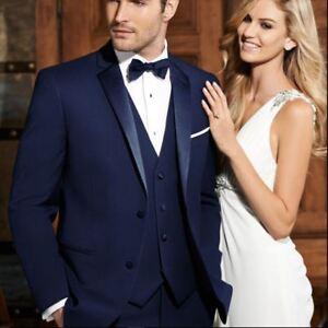 76752263de0 Details about New Ike Behar Navy Sebastian Navy Blue Tropical Wool Tuxedo  Slim Fit Suit Tux