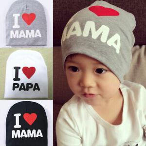 I Love Dad//MomBaby Knitted Hat Kid Children Newborn Cap Warm Beanie Winter