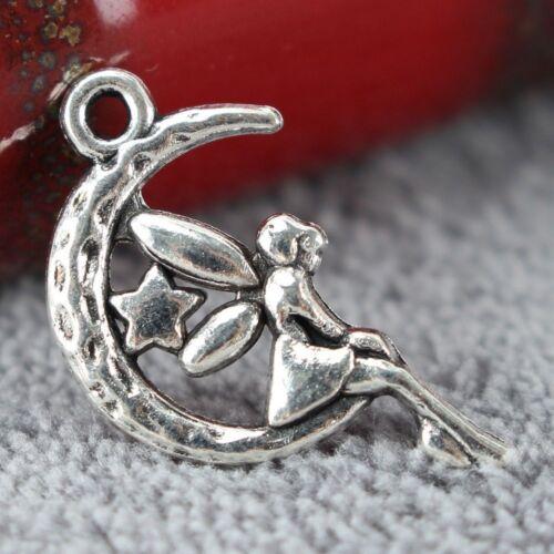 20Pcs Mujer encanto de hadas Moon Star bricolaje colgantes de accesorios para Hacer Collar