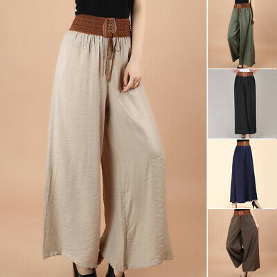 Mujer Pantalones Palazzo Largo Holgado Cintura Alta Pernera Ancha Talla Grande Passimed Pl