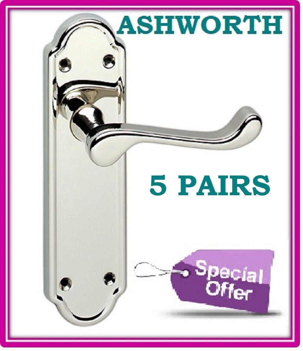 5 Sets Chrome Interior DOOR HANDLES ASHWORTH Design Lever Latch Door Handle D15