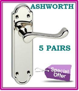 5 Pairs Chrome Interior DOOR HANDLES ASHWORTH Design Lever Latch Door Handle D12