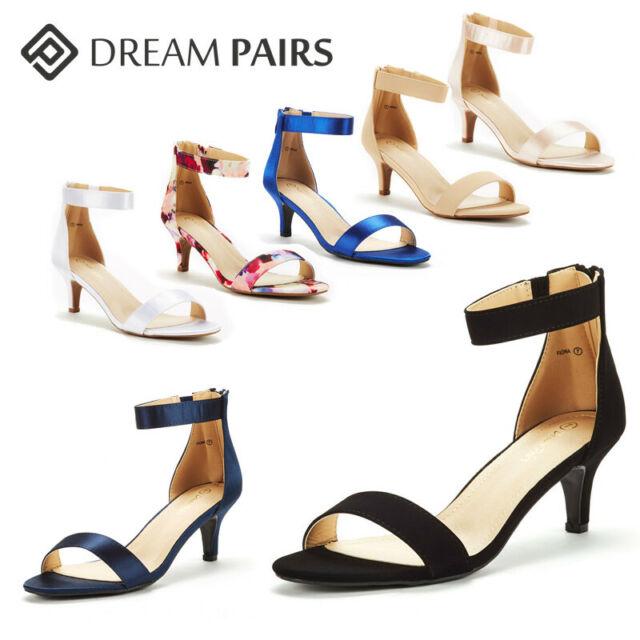 DREAM PAIRS Women's Low Heel Sandals Open Toe Stilettos Ankle Strap Dress Shoes