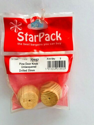 Lot de 2 STARPACK Pine Door Knob Unlacquered percé 35 mm 72157