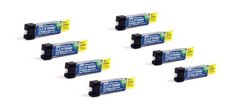 Pack of 8 150mah 1s 3.7v 25c Lipo Battery for E-Flite Hobbyzone Sport Cub S