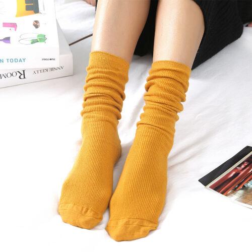 Women Girl Retro Socks Mid Tube Cotton Socks Boots Fall Long Tube Solid Hosiery