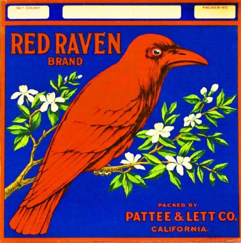Riverside Red Raven Bird Orange Citrus Fruit Crate Label Vintage Art Print