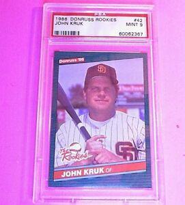 1986 Donruss Rookies #42 John Kruk RC Graded PSA 9 MINT Rookie SET BREAK