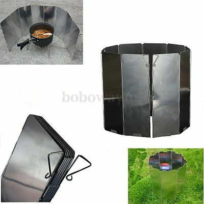 10 plates Fold Outdoor BBQ Camping Stove Wind Shield Screen Cookout Picnic