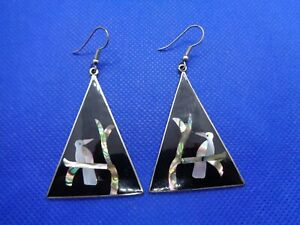 PAIR-OF-LARGE-VINTAGE-SILVER-amp-MOTHER-OF-PEARL-EXOTIC-BIRD-EARRINGS