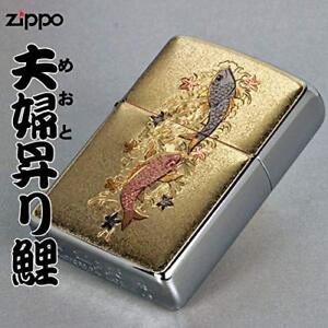 Zippo-Oil-Lighter-Married-Couple-Carp-Electroformed-Plate-Gold-Japan-F-S-New
