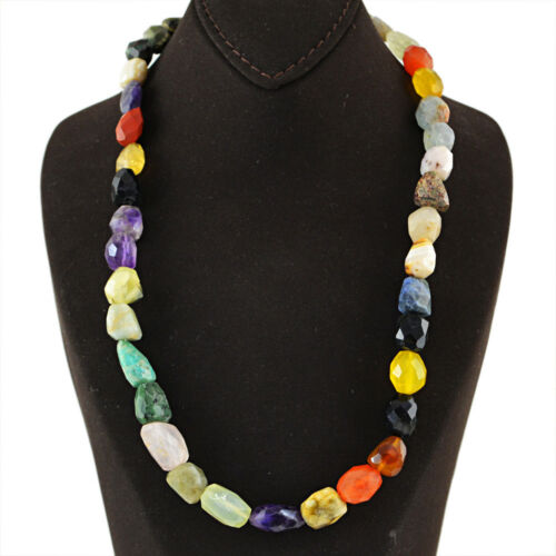 Multicolor Agate 371.50 Cts Natural Unheated Faceted Beads Necklace Best Offer