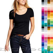 e7c38ab666 Basic Scoop Neck T Shirt Women Solid Plain Top Layer Stretch Blank Fitted  3007