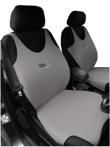 2 GREY FRONT VEST CAR SEAT COVERS PROTECTORS FOR FIAT 500