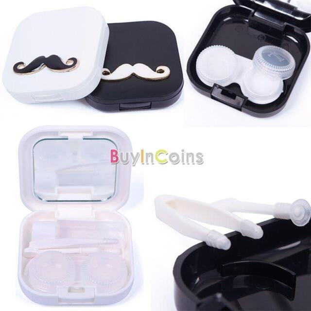 Mini Voyage Barbe Forme Titulaire Contact Lens Case conteneur Box