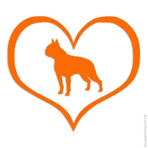 Love Boston Terrier Dog Heart Decal Sticker Choose Color Size #1431