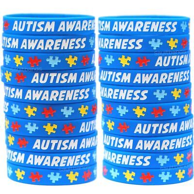 20 Autism Awareness And Support Wristbands Puzzle Piece Bracelets Ebay