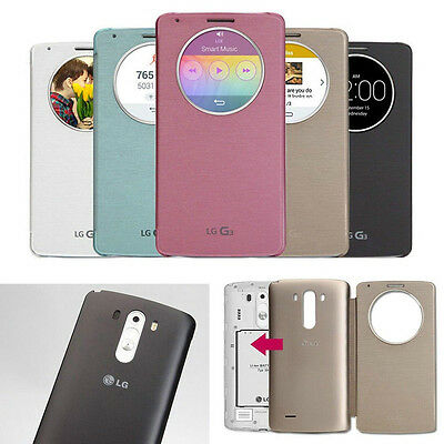 Ultra Slim Quick Circle Clear Window Flip Case Cover For LG Optimus G3/G3 mini