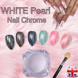 36abe0d9a45b WHITE PEARL NAILS POWDER Matte Pigment Chrome Nail Art Crystal Shiny ...