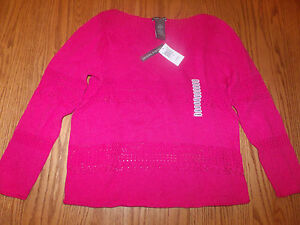New-Womens-Chelsea-amp-Theodore-Long-Sleeve-Sweater-Hot-Pink-Small-S