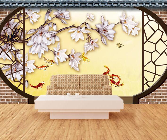 3D Poisson rot Photo Papier Peint en Autocollant Murale Plafond Chambre Art